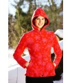 Jacket fleece women red or black
