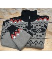 Wool PULLOVERS nordic jacquard beige black for men