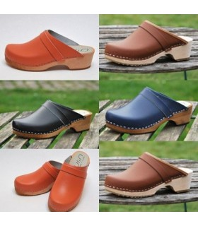 Swedish clogs made of wood and leather