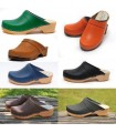 Men's Swedish tanned vegetal leather and nubuck wooden clogs