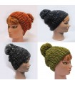 Mottled Wool beanie with big pompon