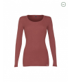 Women's round neck long sleeves shirt in pure merino wool red