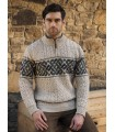 Celtic Jacquard Half Zip Sweater in pure merinowool.