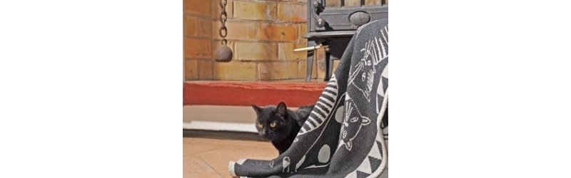 Throws 100% cotton, thrown from wheelchair patterned cat, fish, boat, sea, water lily, dog, sea node, Lighthouse